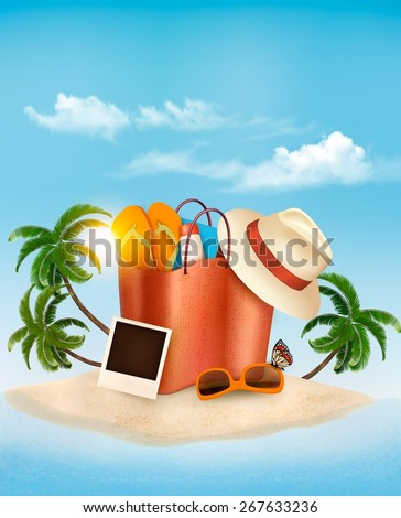 Seaside view with a palm tree, beach bag and a hat. Summer vacation concept background. Vector.  - stock vector