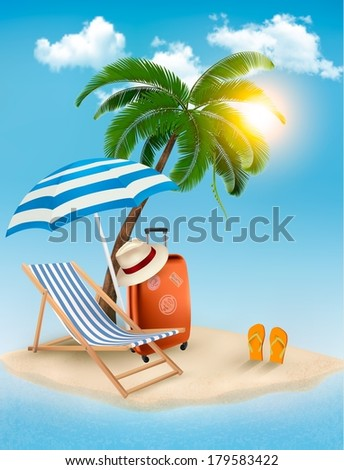 Seaside view with a palm tree, beach chair and parasol. Summer vacation concept background. Vector. - stock vector