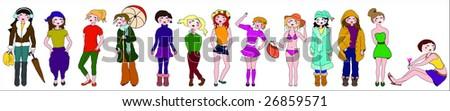 season girls - stock vector