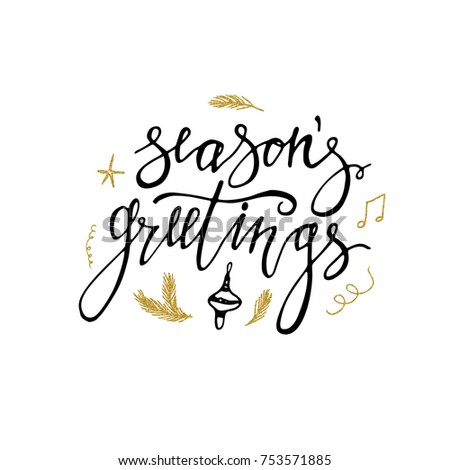 Seasons greetings card gold glitter christmas stock vector 2018 seasons greetings card with gold glitter christmas elements hand lettering calligraphic inscription by brush for m4hsunfo