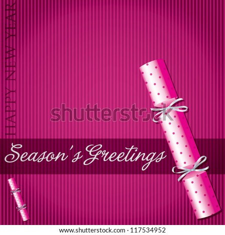 Season's Greetings polka dot cracker card in vector format. - stock vector