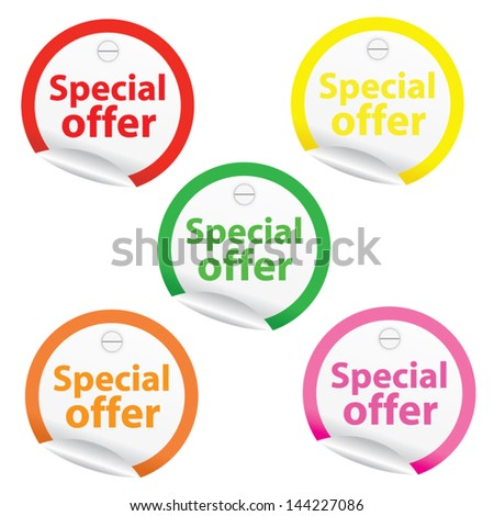 Season Sale Sticker or Label Present By Special Offer on colorful border. - stock vector