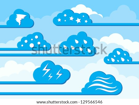 Season sky with clouds in a variable - stock vector