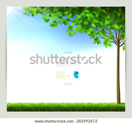 Season tree with green leaves on the blue sky. - stock vector