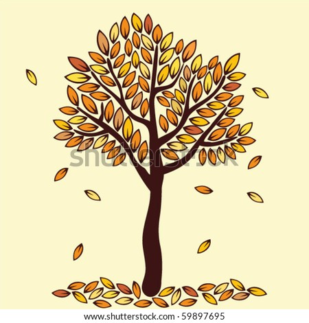 seasonal autumn tree - stock vector