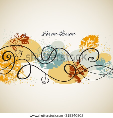 Seasonal background with autumn leaves. - stock vector
