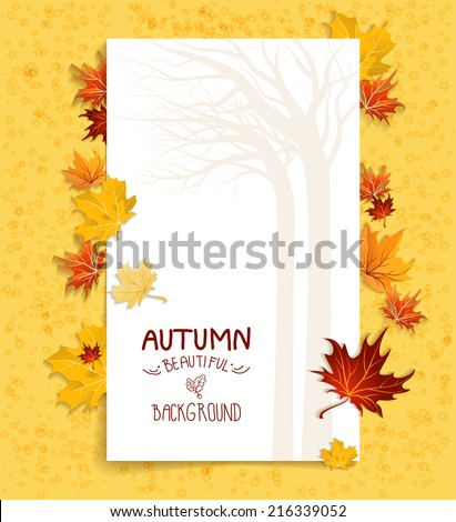 Seasonal background with maple leaves. Copy space. - stock vector