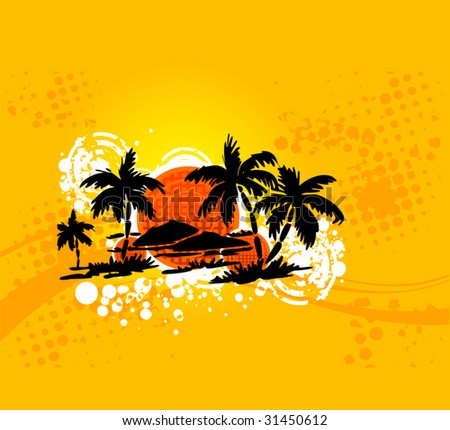 Seasonal background with palm-island