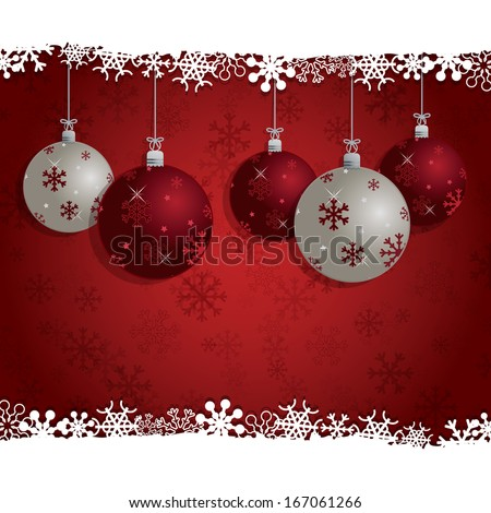 seasonal christmas bauble decoration background in red, eps 10 format with transparencies. - stock vector