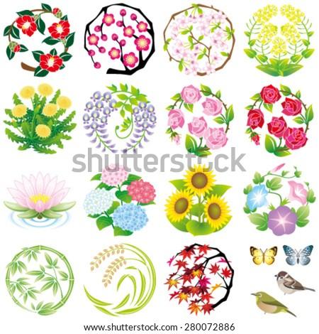 seasonal flower icons - stock vector
