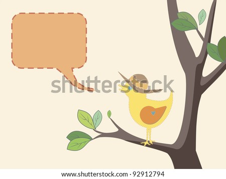Seasonal illustration of a cute bird with a summer hat on a tree with green leaves