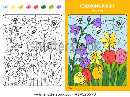 Seasons Coloring Page Kids May Month Stock Vector 414126598 ...
