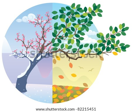 Seasons Cycle: Cartoon illustration representing the cycle of the four seasons. No transparency used. Basic (linear) gradients. - stock vector