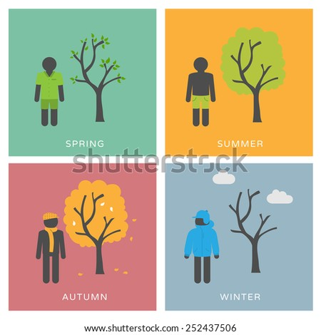 Seasons & Fashion - set of flat design illustrations - stock vector