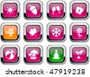 Seasons glossy icons. Vector buttons. - stock vector