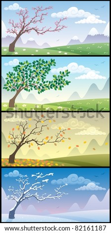 Seasons Landscapes: Cartoon landscape during the four seasons. No transparency used. Basic (linear) gradients. - stock vector