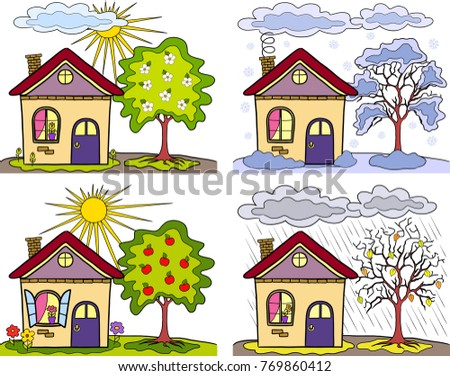 Seasons Of Year Country Landscape And Small Houses