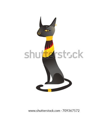 Seated Black Cat Statue Bastet Ancient Stockvector 709367572