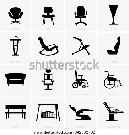Seats and chairs - stock vector
