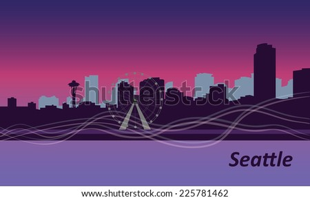 Seattle cityscape with ferris wheel in the night - stock vector