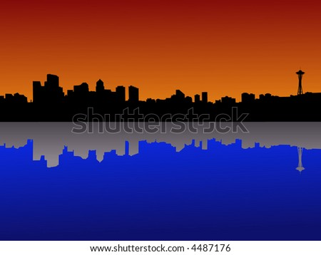 Seattle skyline at dusk reflected in lake Union - stock vector
