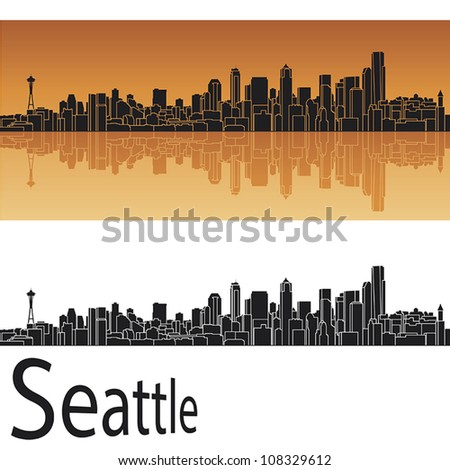 Seattle Skyline Outline Drawing Seattle Skyline in Orange