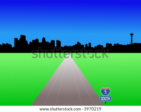 Seattle skyline with deserted freeway illustration