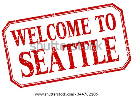 Seattle - welcome red vintage isolated label - stock vector