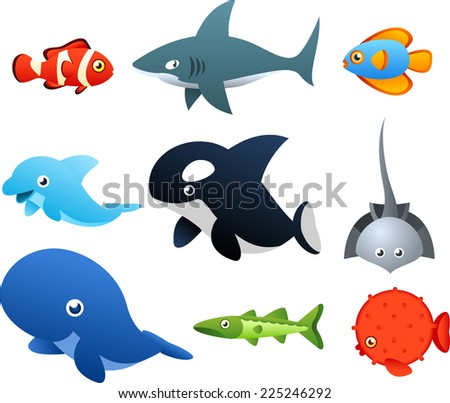 Second set of Sea Life icons, with nine different sea animals like, fish, shark, dolphin, whale vector illustration.  - stock vector