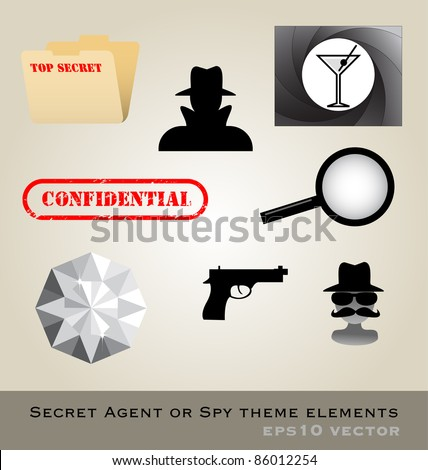 Secret agent theme pack vector - stock vector