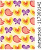 secret garden wallpaper series (birds and nature) - stock vector