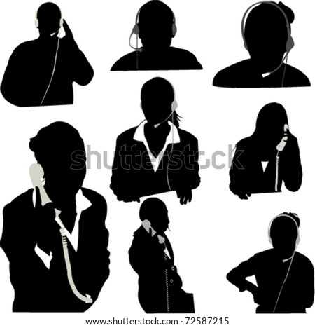 secretary and call center operator vector - stock vector