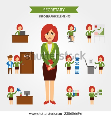 Secretary at work infographic elements. Business woman working in the office, a presentation, talking on the phone, meet with the staff, working at computer, receives a salary vector flat illustration - stock vector