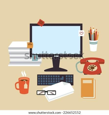 Secretary Desk illustration - stock vector