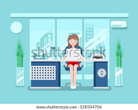 Secretary in office. Businesswoman person, worker woman, work and job, young female, flat vector illustration - stock vector