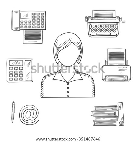 Secretary profession sketched icons with telephone, fax, folders with documents, pen, printer, mail, typewriter and elegant young woman - stock vector