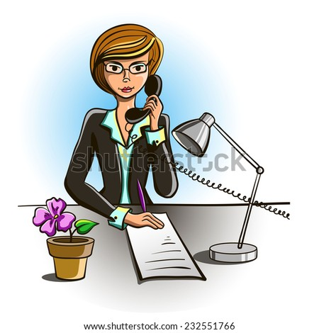 Secretary sits at his desk and talking on the phone - stock vector
