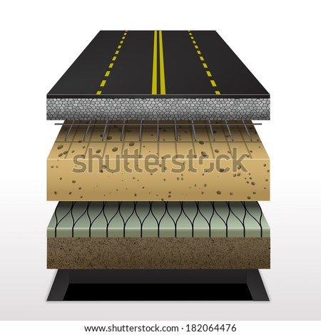 section of asphalt road Pavement layers  Vector illustration - stock vector