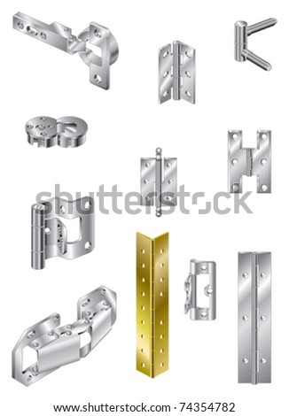 Section of steel hinges and one brass - stock vector