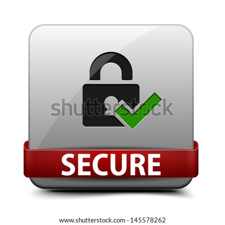 Secure button - stock vector