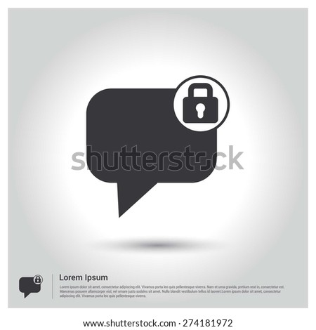 Secure Chat Icon, Flat pictograph Icon design gray background. Vector illustration. - stock vector