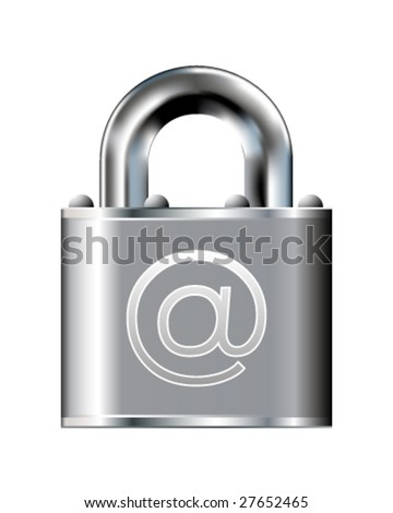 Secure e-mail icon on stainless steel padlock vector button - stock vector