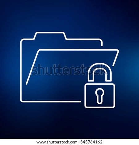Secure folder icon. Secure folder sign. Secure folder symbol. Thin line icon on blue background. Vector illustration. - stock vector