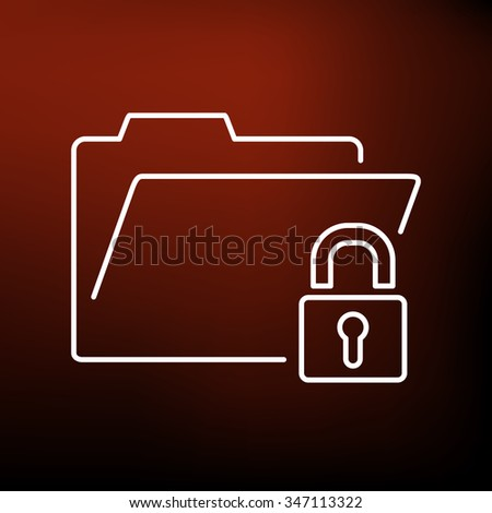 Secure folder icon. Secure folder sign. Secure folder symbol. Thin line icon on red background. Vector illustration. - stock vector
