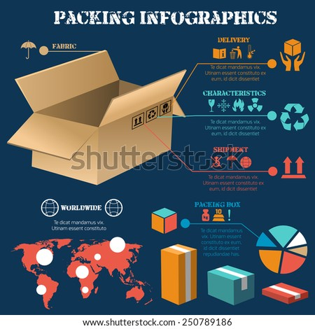 Secure freight units packing for worldwide transportation and distribution infographics report presentation poster print abstract vector illustration - stock vector