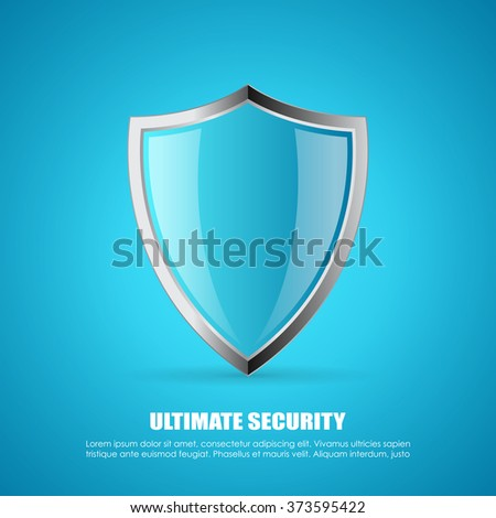 Secure shield vector poster illustration on blue background - stock vector
