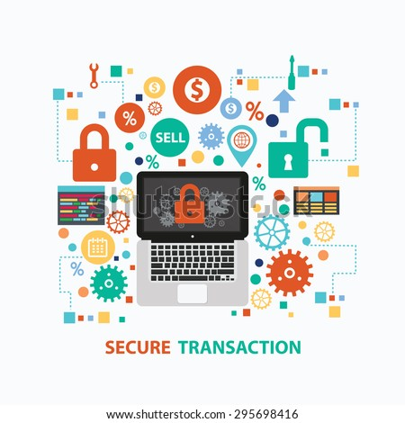 Secure transaction concept design on white background,clean vector - stock vector