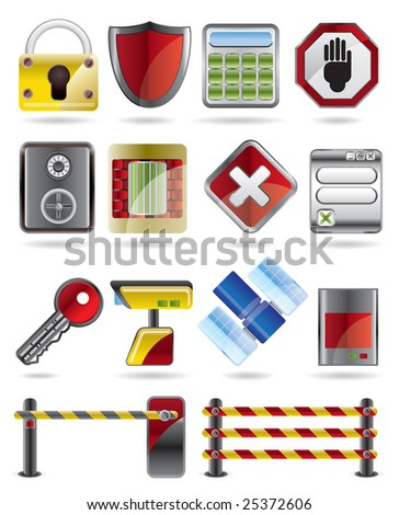 Security and Business icon set - stock vector