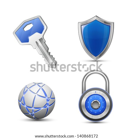 Security and protection symbols. Privacy and secrecy concept. vector illustrations - stock vector