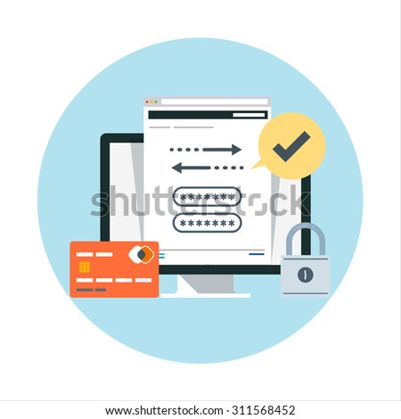 Security and transactions flat style, colorful, vector icon for info graphics, websites, mobile and print media. - stock vector